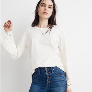 NEW Madewell Eyelet Embroidered Tier-Sleeve Tee